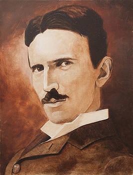 Nikola Tesla - Sepia Portrait by Darko Topalski