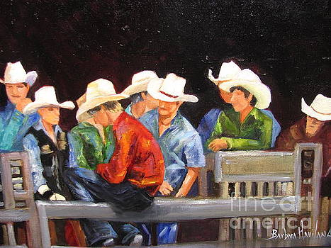 Nine Cowboys on a Fence by Barbara Haviland