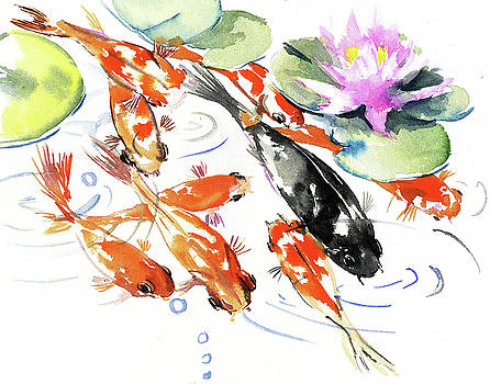 Nine Koi Fish, Feng Shui Artwork by Suren Nersisyan