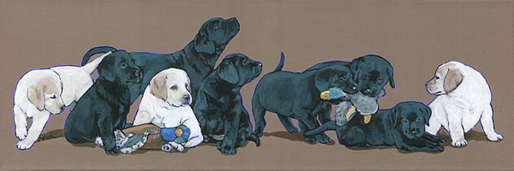 Nine Lab Puppies by Nadi Spencer