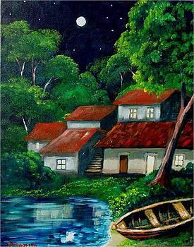Nocturno tropical al borde del lago by Jean Pierre Bergoeing