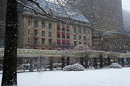 Norman B Leventhal Park Boston MA Snow storm by Toby McGuire