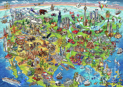 Maria Rabinky - North America Wonders Map Illustration