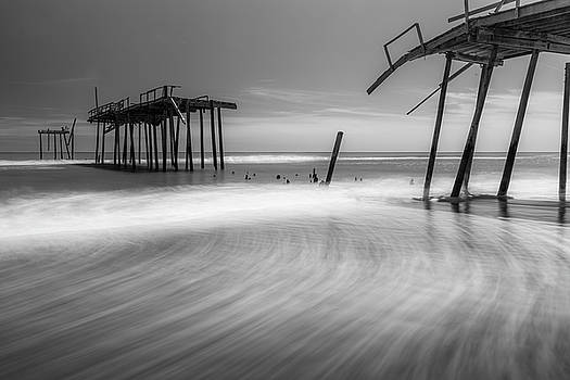 Ranjay Mitra - North Carolina Broken Fishing Pier in Black and White