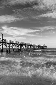 Ranjay Mitra - North Carolina Ocean Crest Fishing Pier in Black and White