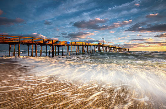 North Carolina Outer Banks Nags Head Pier Seascape at Sunrise by Dave Allen