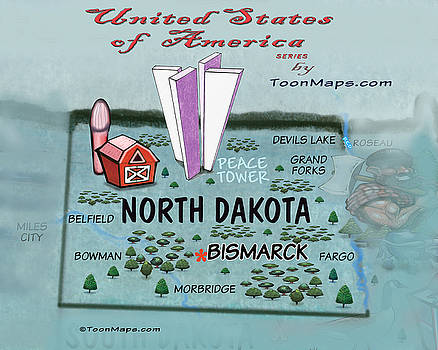 North Dakota Fun Map by Kevin Middleton
