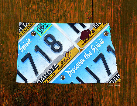 Design Turnpike - North Dakota Peace Garden State Recycled Vintage License Plate Map