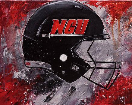 North Greenville University Football Helmet Wall Art Painting by Gray Artus