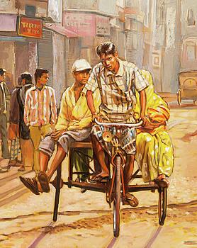 North India Street Scene  Detail View by Dominique Amendola