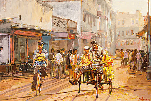 North India street scene by Dominique Amendola