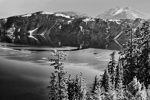 North Rim Crater Lake B W by Frank Wilson