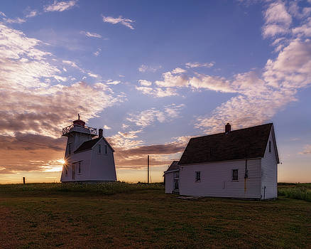 North Rustico Lighthouse at sunrise by Chris Bordeleau