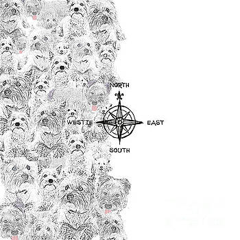 North South East and Westie Dog by Nola Lee Kelsey