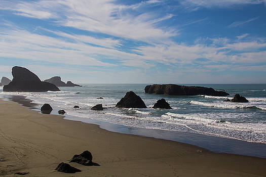 Northern California Beach with Rocks and Thin Clouds by Beth Partin