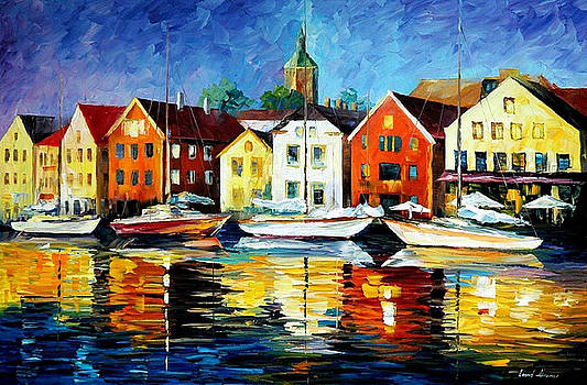 Northern Harbor - PALETTE KNIFE Oil Painting On Canvas By Leonid Afremov by Leonid Afremov