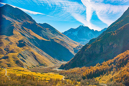 Northern Italian Alps Mountains and Valley in Fall by Kimberly Blom-Roemer