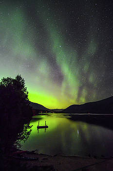 Northern Lights Over Kootenay Lake by Joy McAdams