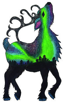 Northern Lights Reindeer by Tara Warburton-Schwaber