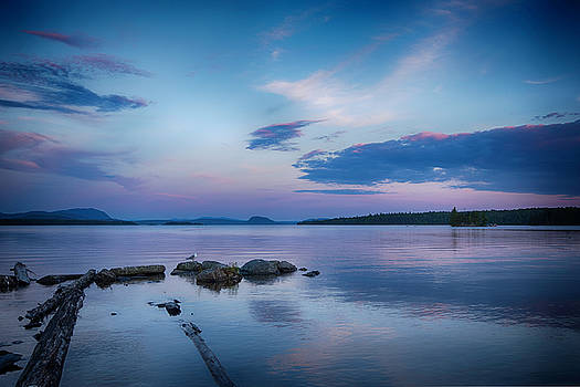 Northern Maine Sunset Over Lake by Justin Mountain