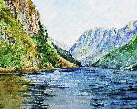 Northern Mountain Lake Watercolor by Irina Sztukowski