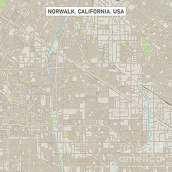 Norwalk California US City Street Map by Frank Ramspott