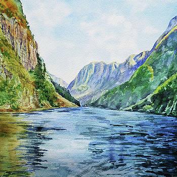 Irina Sztukowski - Norway Fjord Watercolor Landscape