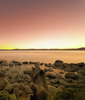 Not So Secret Cove at Lake Tahoe During Sunset on the Beach with Rocks, Reflections and Fallen Tree by Brian Ball