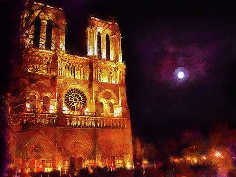 Notre Dame in the Autumn Moonlight by Menega Sabidussi