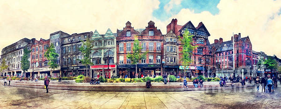 Justyna Jaszke JBJart - Nottingham panorama city watercolor