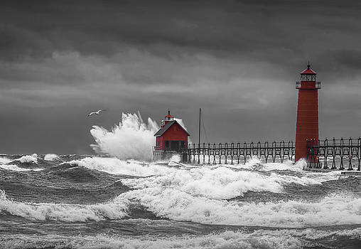 Randall Nyhof - November Storm  with Flying Gull by the Grand Haven Lighthouse