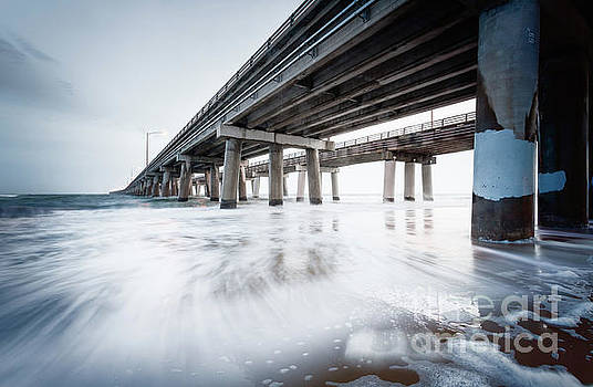 November Surf Chesapeake Bay Bridge Tunnel by Lisa McStamp