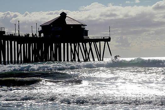November Surfer Huntington Beach California by Linda Queally