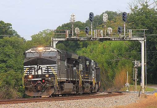 NS Train Under Lowell Signals by Joseph C Hinson Photography