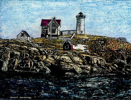 Nubble Light - York Maine by Robert Goudreau