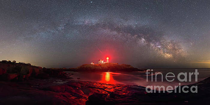 Nubble Light Milky Way Panorama  by Michael Ver Sprill