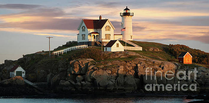 Nubble Lighthouse in Light by Jerry Fornarotto