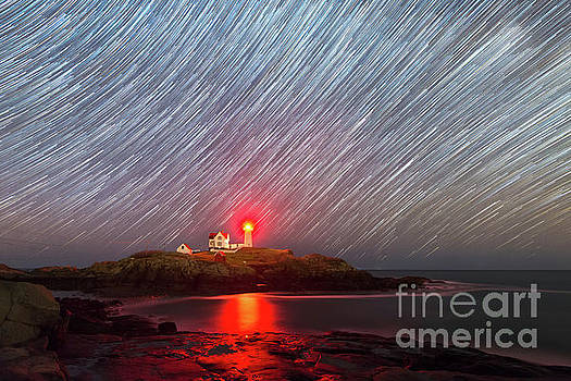 Nubble Lighthouse Star Trails  by Michael Ver Sprill