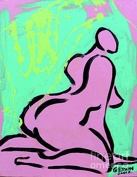 Nude Abstract With Green Background by Genevieve Esson