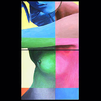 Nude Diptych With Color Grid by Geoff Greene