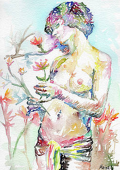 Nude Female Model with Flowers by Marina Sotiriou