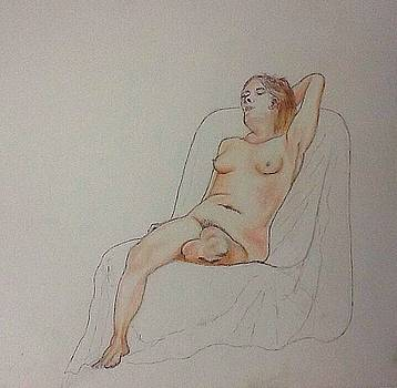 Nude Life Drawing by Robert Monk