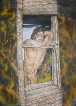 Nude Male In Window by Stuart Meek