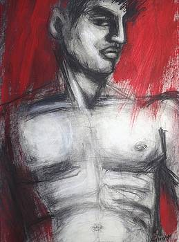 Nude Man Torso On Red by Carmen Tyrrell