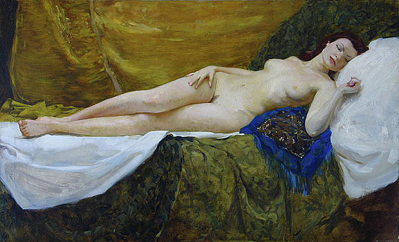 Nude on gold background by Korobkin Anatoly