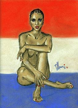 Nude On Red, White, And Blue by P J Lewis