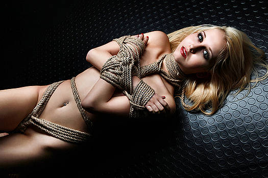 Rod Meier - nude, tied blonde on floor - Fine Art of Bondage