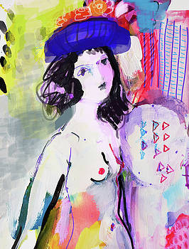 Nude with flower hat by Amara Dacer