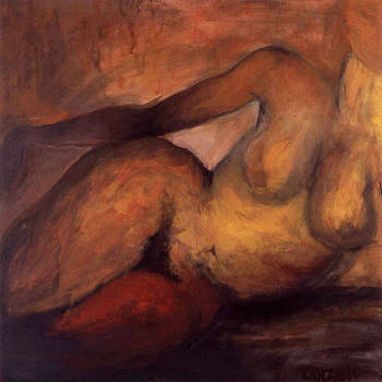 Nude with red thigh by Pamela Canzano