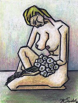 Kamil Swiatek - Nude With White Flowers